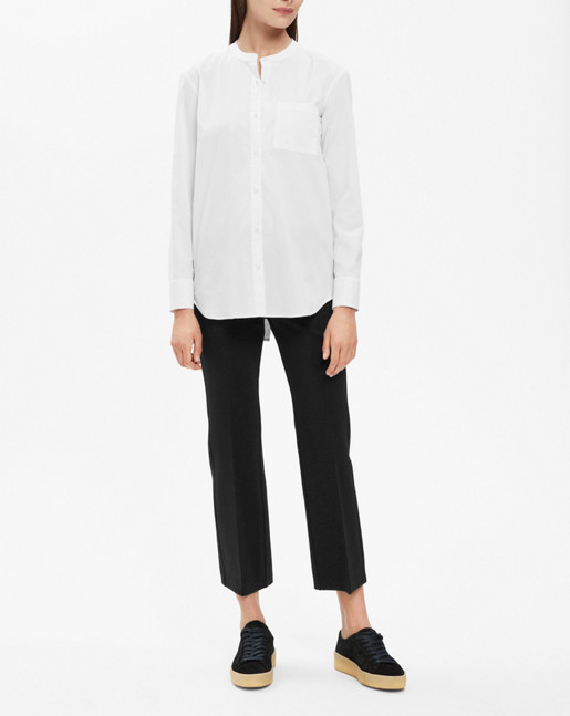 Back Button Shirt White