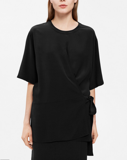 Double Wrap Blouse Black