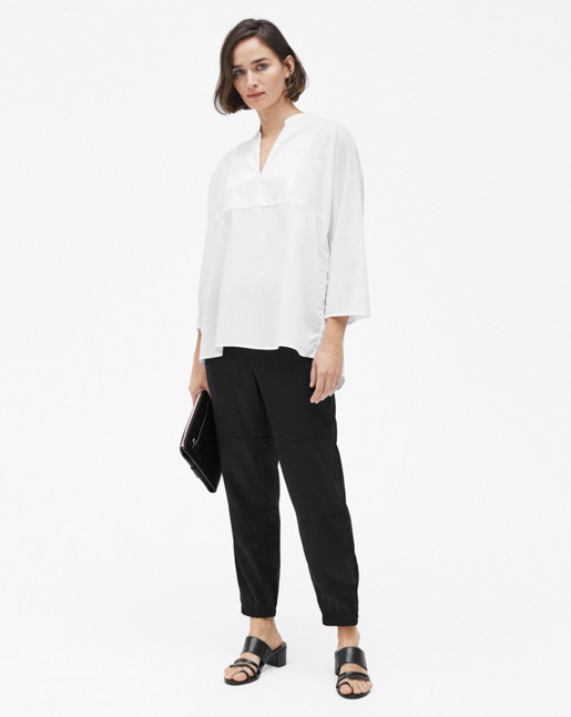 Light Pleat Blouse White