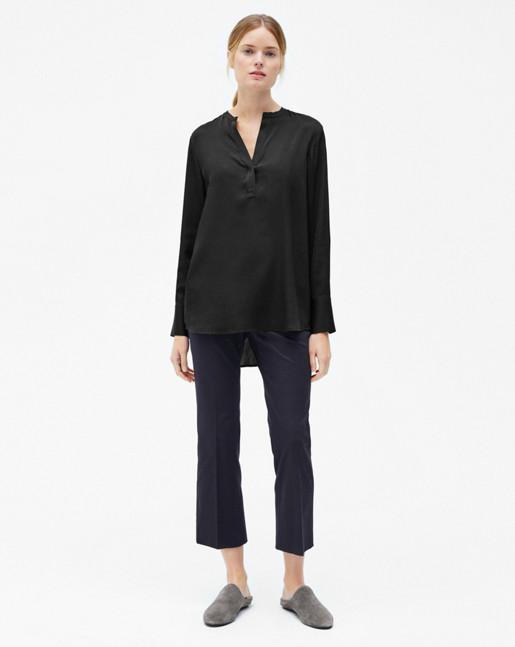 Pull-on Silk Blouse Black
