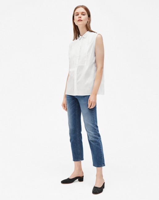 Tuxedo Sleeveless Shirt White