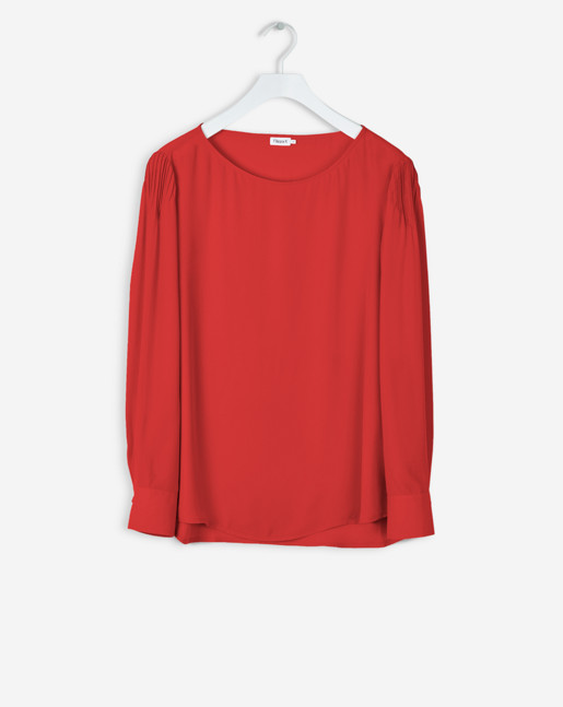 Pintuck Blouse Rouge