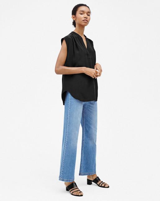 Sleeveless Silk Blouse Black