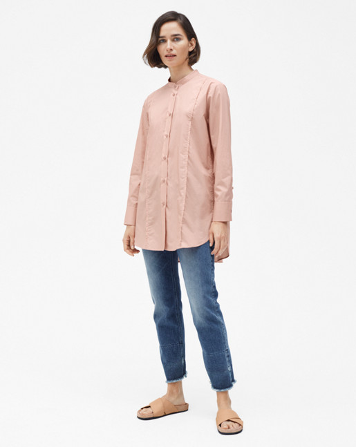 Band Collar Long Shirt Petal