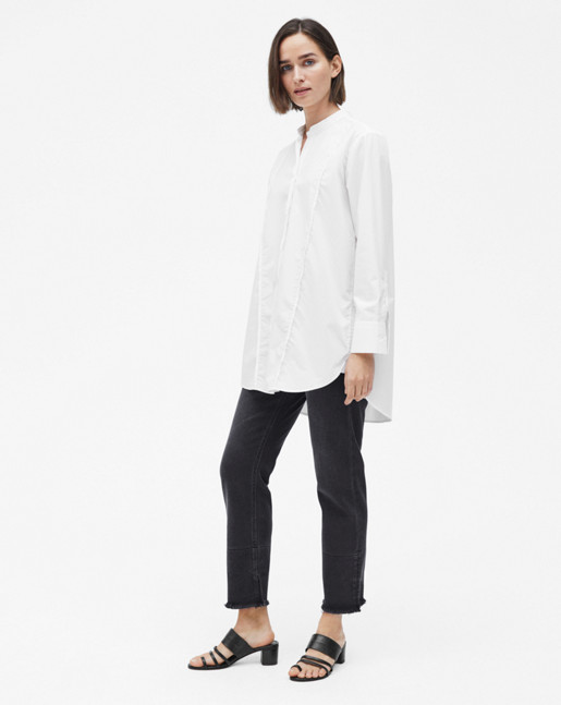 Band Collar Long Shirt White