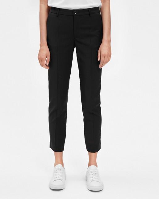 Luisa Cropped Cool Wool Slacks Black