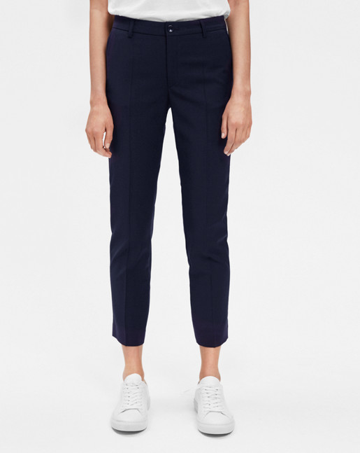 Luisa Cropped Cool Wool Slacks Dk Navy