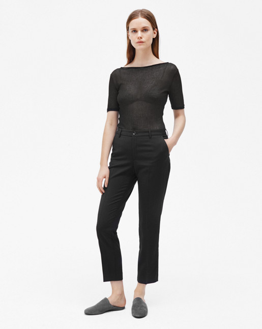 Luisa Cropped Cool Wool Slacks Black