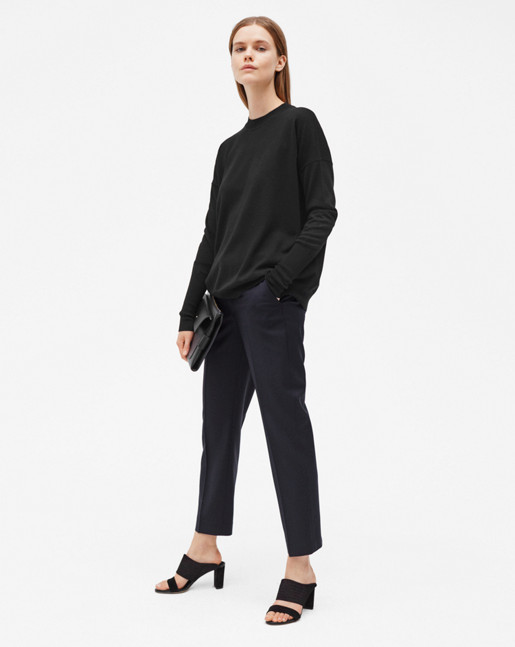 Luisa Cropped Cool Wool Slacks Dark Navy