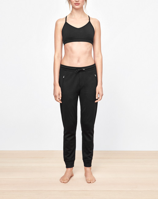 Shiny Sweat Pants Black