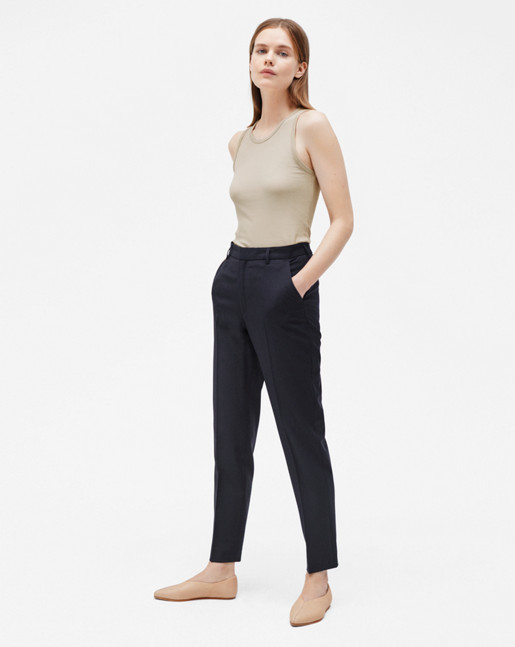 Fiona Peg Cool Wool Slacks Dark Navy