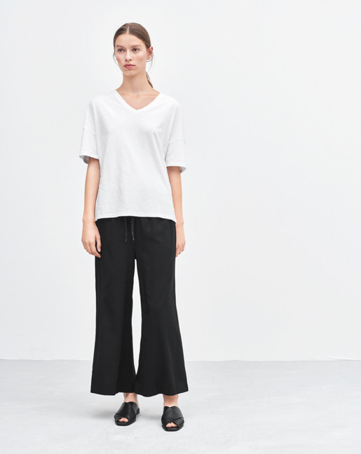 Adie Wide Cropped Pants Black
