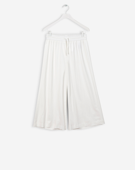 Adie Wide Cropped Pants Off White