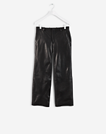 Cropped leather Pant Black