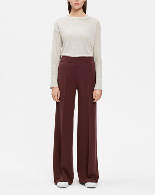 Rhea Wide Pants Wool twill Fig