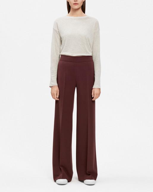 Rhea Wide Pants Wool twill Fig