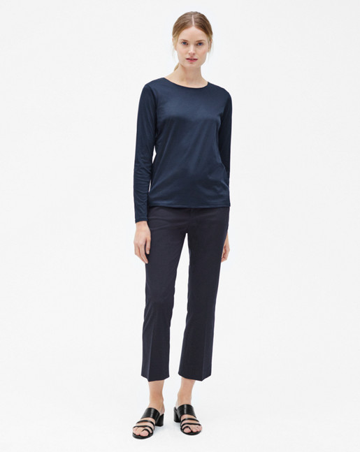 Hudson Cotton Cropped Trousers Navy
