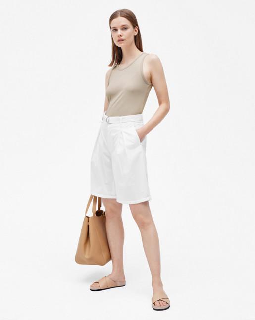 Madison Belted Shorts White