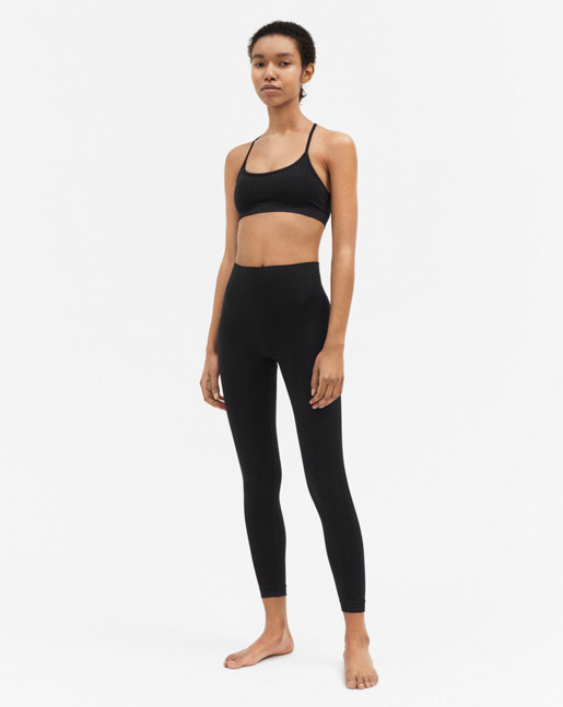 Crop Seamless Mesh Leggings Black