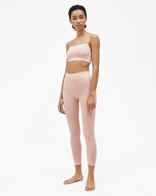 Crop Seamless Mesh Leggings Pale Pink