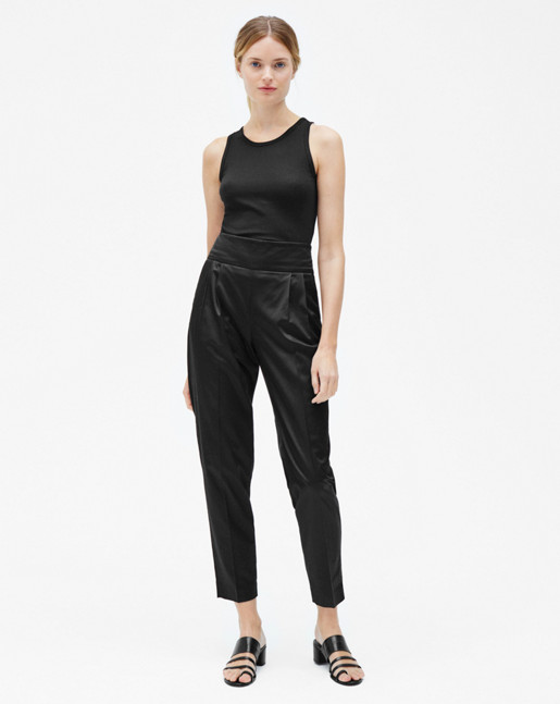 Justine Pleat Trousers Black