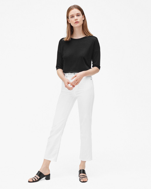 Stella Cropped Coloured Denim White