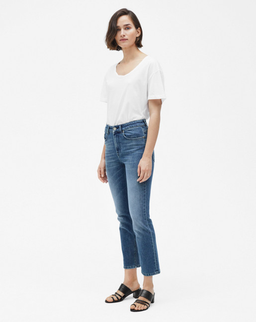 Stella Cropped Mid Blue Denim