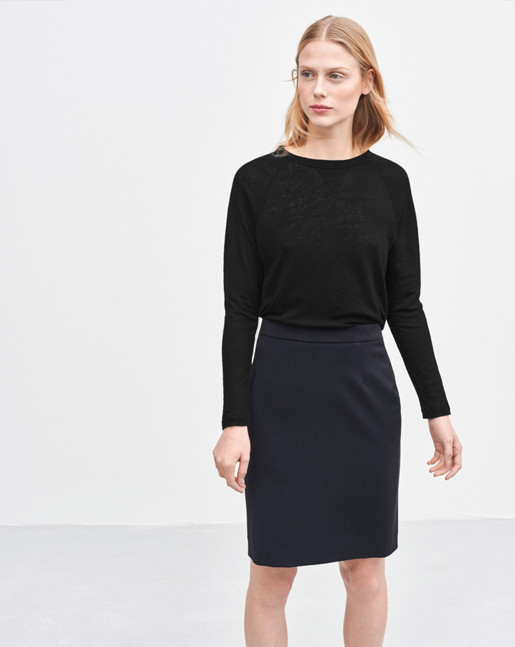 Cool Wool Pencil Skirt Dk Navy