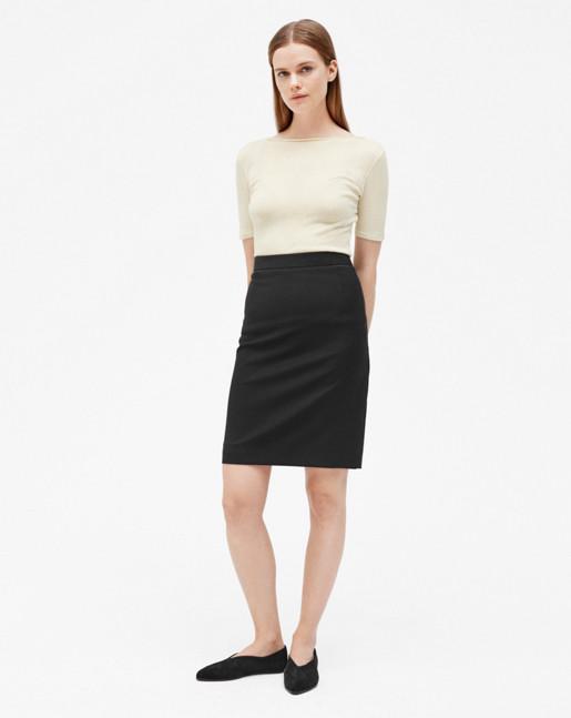 Cool Wool Pencil Skirt Black