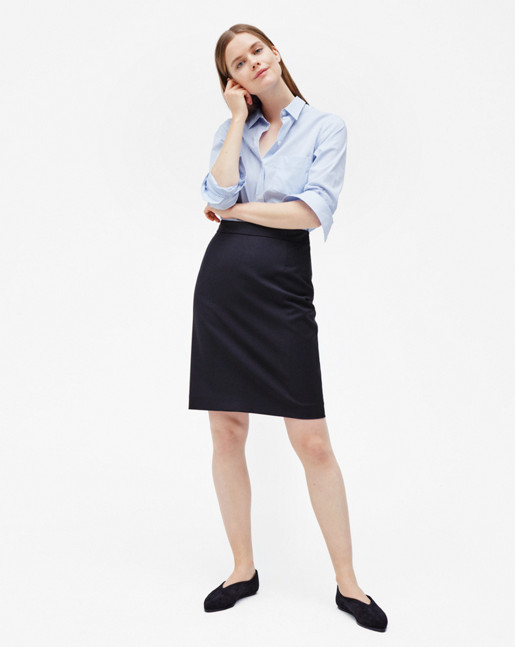 Cool Wool Pencil Skirt Dark Navy
