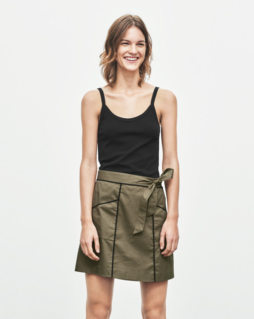 Cotton Pocket Belt Skirt