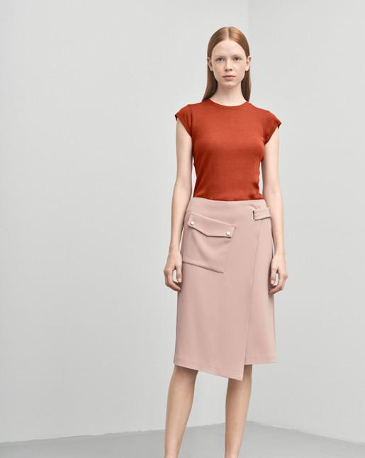 Wrap Pocket Crepe Skirt