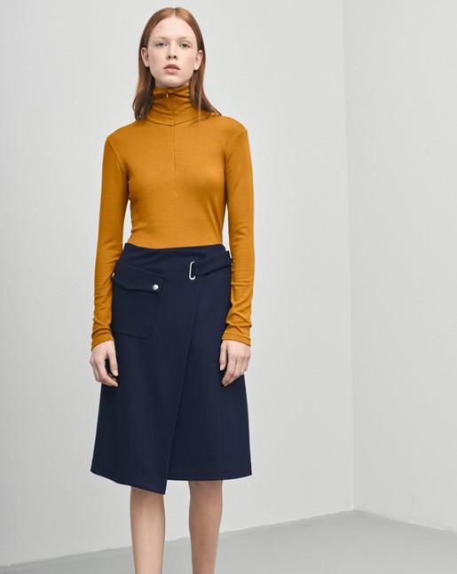 Wrap Pocket Wool Skirt Navy