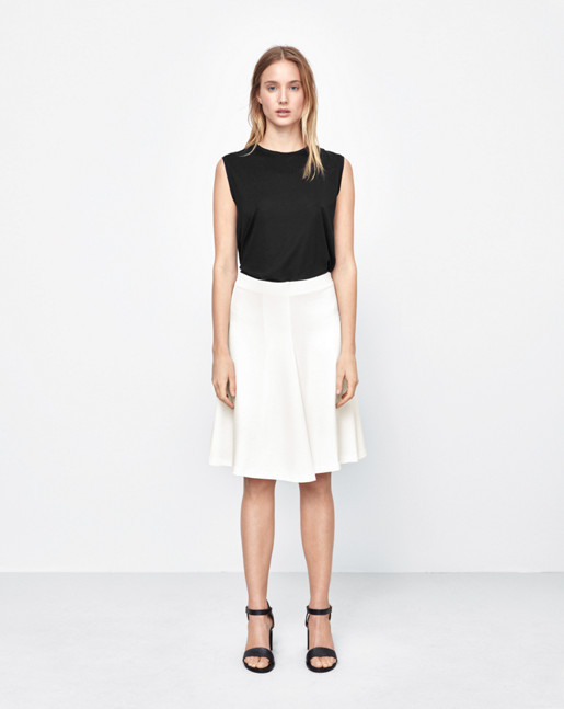 Jersey Swing Skirt Off White