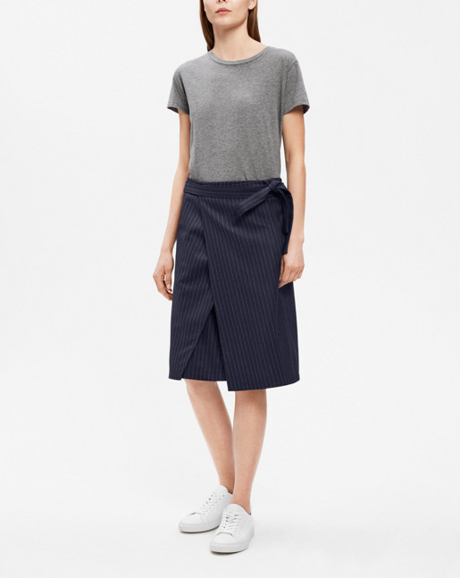 Double Wrap Skirt Navy/Chalk