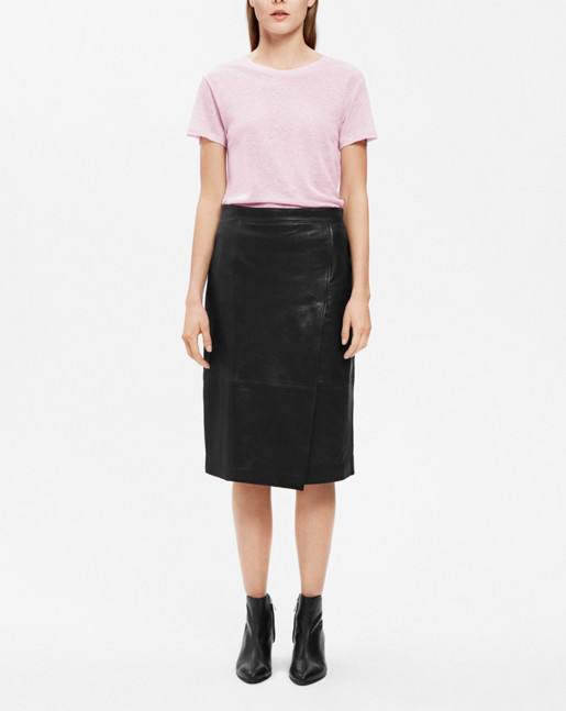 Wrap Leather Skirt