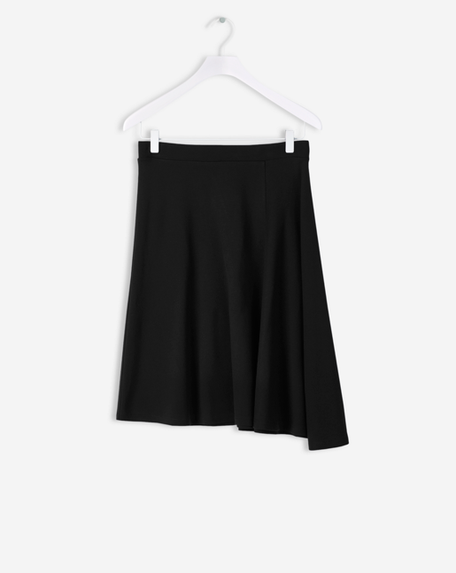 Side Drape Jersey Skirt Black