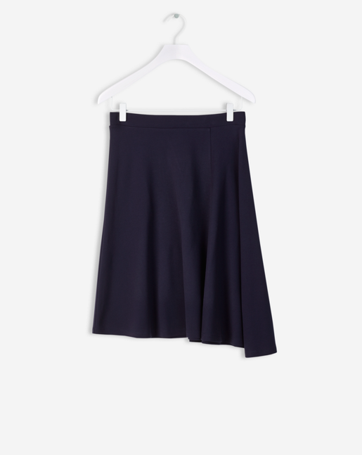 Side Drape Jersey Skirt Navy