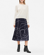 Printed Plisse Skirt Navy