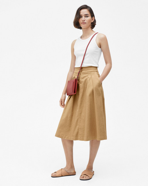 Flared Pleat Skirt Bamboo