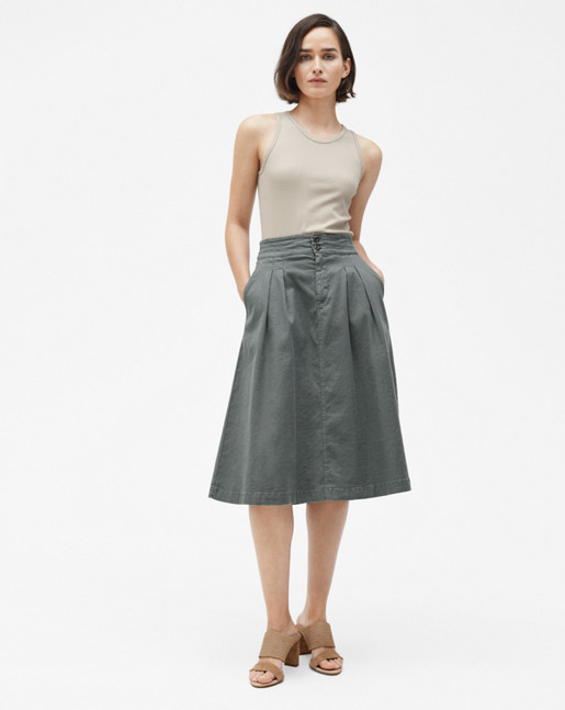 Flared Pleat Skirt Thyme