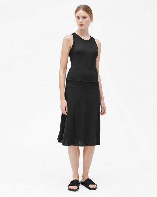 High Waisted Jersey  Skirt Black