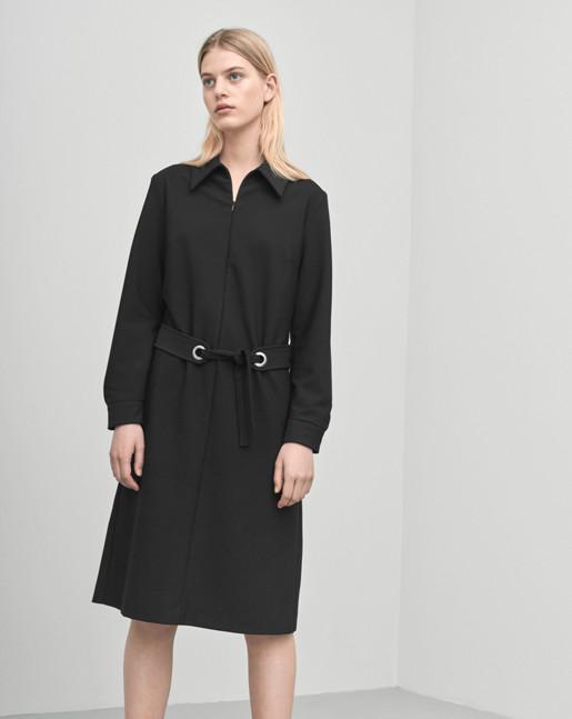 Shirt Zip Dress Black