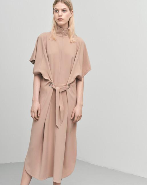 Zip Collar Belt Dress Almondine