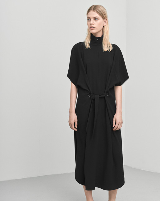 Zip Collar Belt Dress Black
