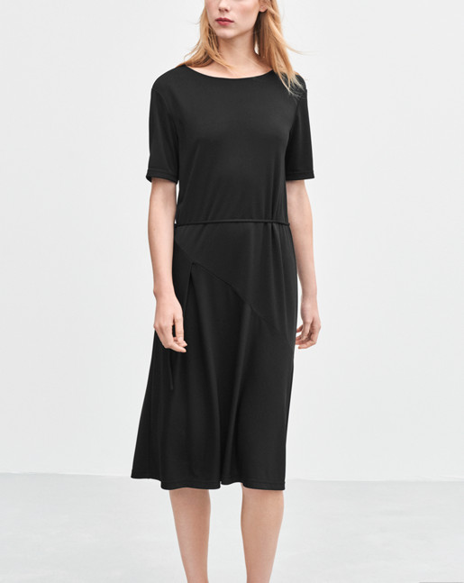 Bias Cut Jersey Dress Black