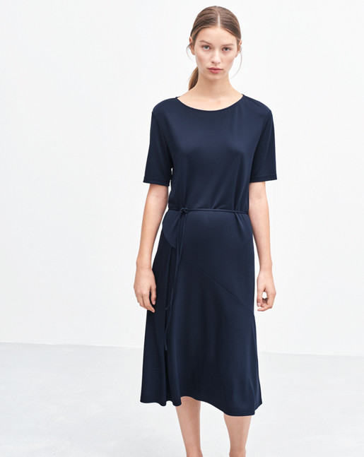 Bias Cut Jersey Dress Bright Navy