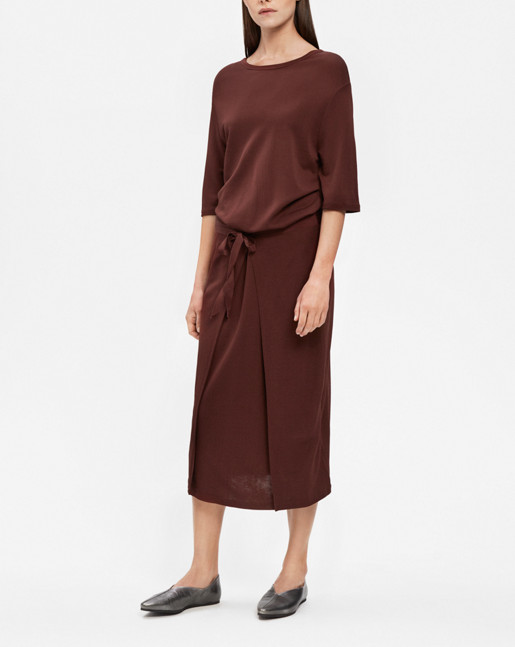 Double Wrap Jersey Dress Fig