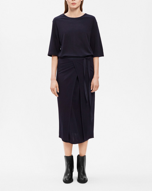 Double Wrap Jersey Dress Navy