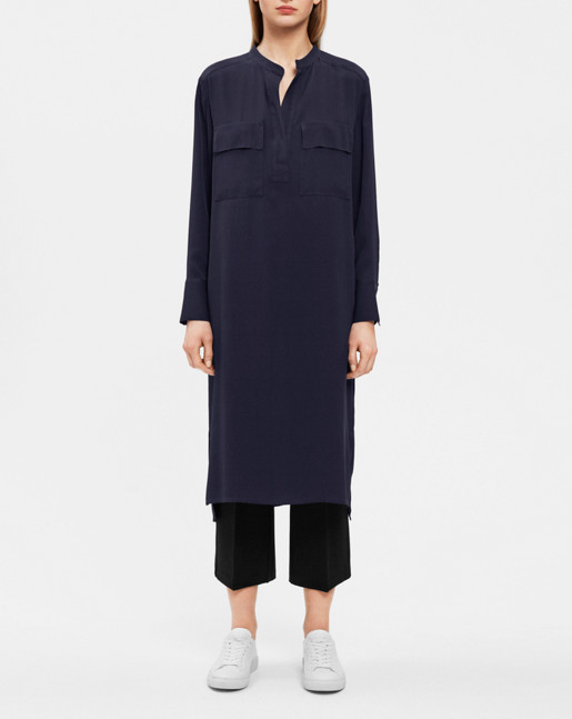 Ada Long Shirt Dress Navy